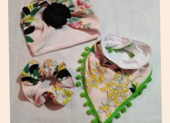 Conjunto bandana, scrunchie y cintillo turbante